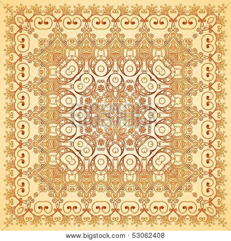 Vintage beige lacy ornate shawl vector pattern