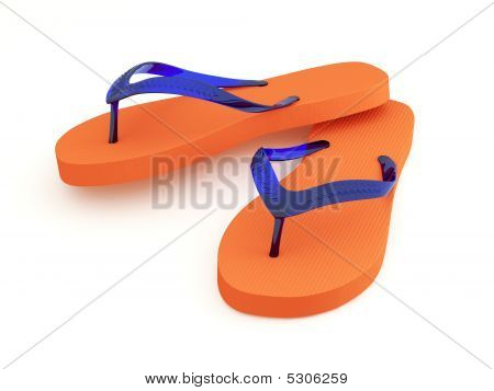 Orange Flip Flops On White Background