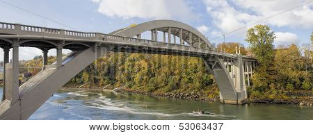 Oregon City Arch Bridge Over Willamette River In Fall