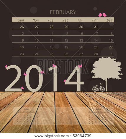 2014 calendar, monthly calendar template for February. Vector illustration.