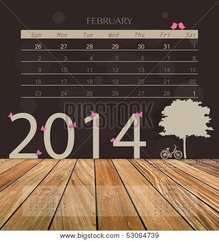 2014 calendar, monthly calendar template for February. Vector illustration.