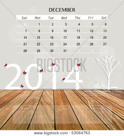 2014 calendar, monthly calendar template for December. Vector illustration.