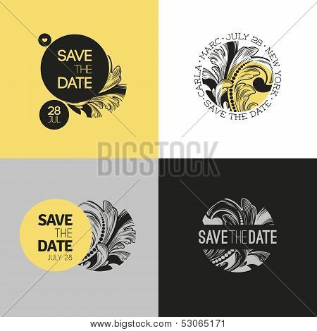 Save The Date - Wedding Vector Graphic Set In Baroque Style