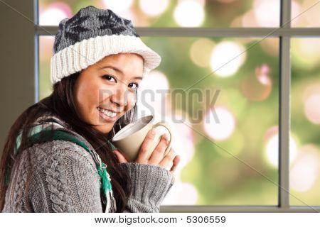 Beautiful Asian Woman Drinking Coffee