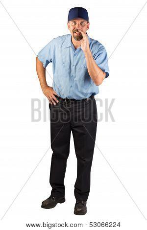 Service Man Telling A Secret.