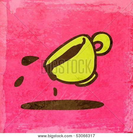Cup of Coffee. Spilling. Cute Hand Drawn Vector illustration, Vintage Paper Texture Background