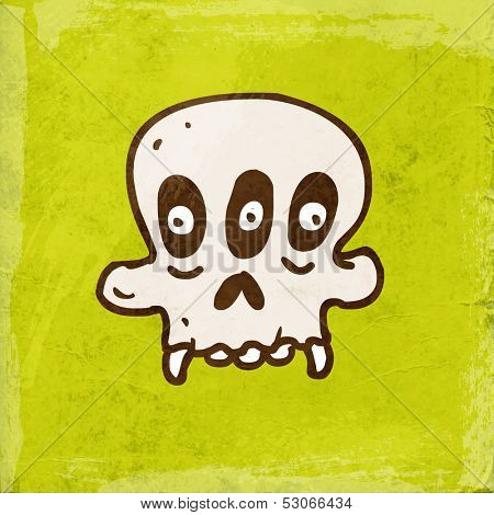 Alien Monster Cartoon Skeleton. Cute Hand Drawn Vector illustration, Vintage Paper Texture Background