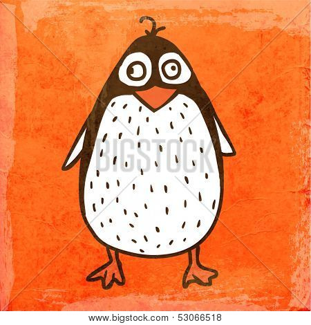 Cartoon Penguin. Cute Hand Drawn Vector illustration, Vintage Paper Texture Background