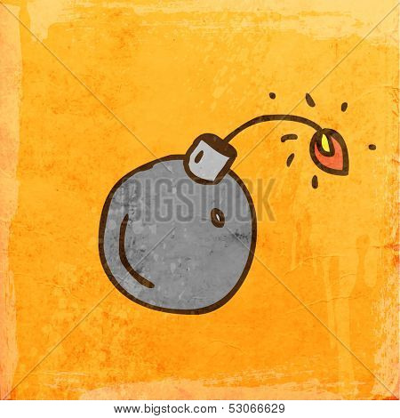 Bomb. Cute Hand Drawn Vector illustration, Vintage Paper Texture Background