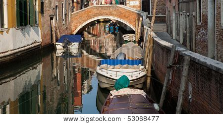 Canal with Bridge and Boats