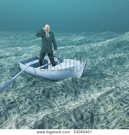 Man afloat in tiny boat on sea of currency