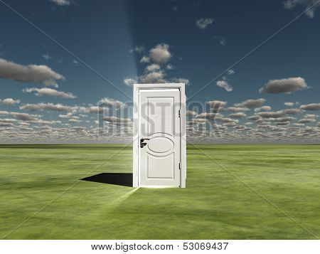 Semi Closed door in ladscape emits light