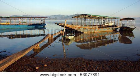 Beautiful boat on lake
