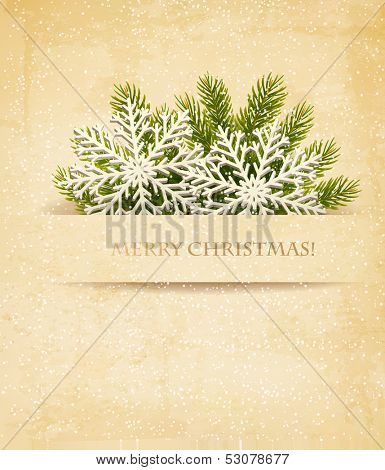 Christmas retro background with tree branches and snowflake. Vector.