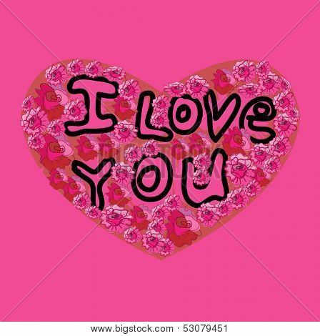 I Love You inscription on the Heart, pink background. Vector illustration.