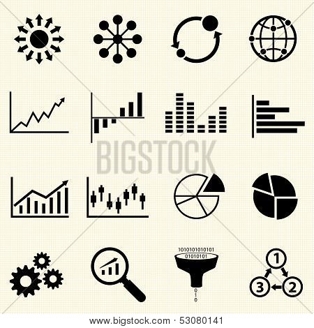 Business Info graphic icons with texture background