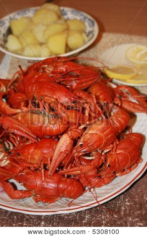 Fresh Crawfish With Garnish