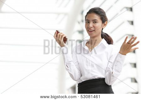 Happy Business Woman Sucess With Hands Up