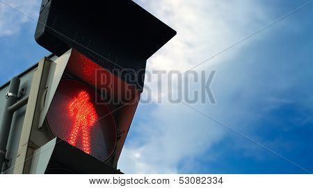 Pedestrian Traffic Lights Shows Red Restrictive Signal. Closeup View