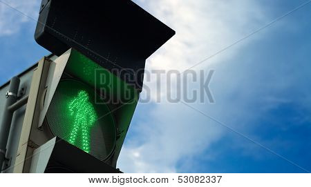 Pedestrian Traffic Lights Casus With Shows Green Restrictive Signal