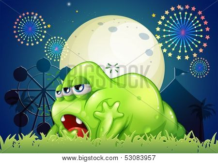 Illustration of a sleepy green monster at the amusement park
