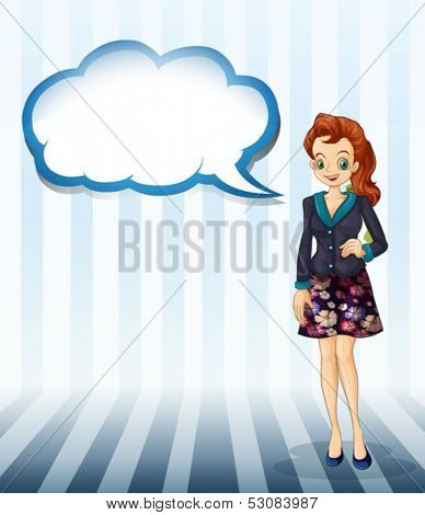 Illustration of an office girl with an empty cloud template on a white background