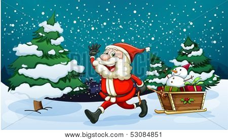Illustration of a smiling Santa pulling the wooden sleigh near the pine trees