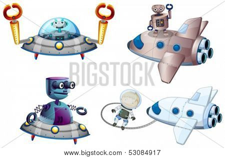 Illustration of the spaceships with robot and a young boy near the plane on a white background