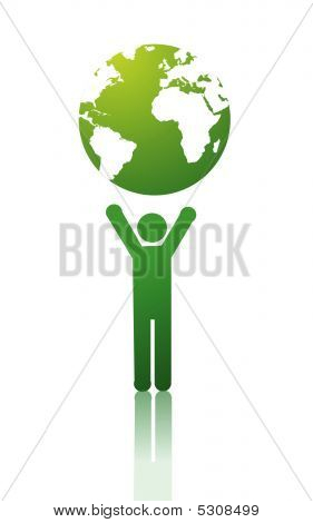 Green Planet On White Background