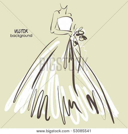 art sketch #6 of beautiful young  bride in white dress and with the bride's bouquet. Vector background with space for text.