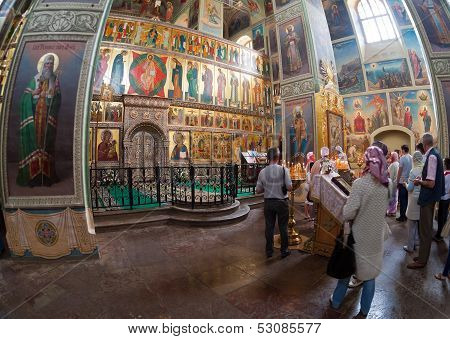 Valday, Russia - August 19: Interior Of The Assumption Cathedral In Iversky Monastery August 19, 201