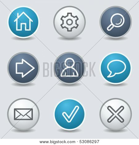 Basic web icons, circle blue buttons