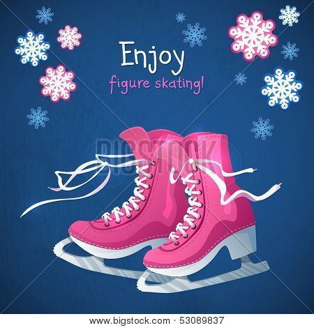 Retro Christmas Card With Ice Skates