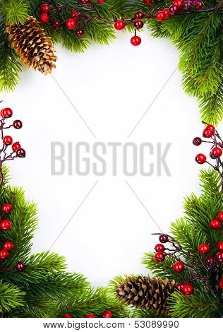 Art   Christmas Frame With Fir And Holly Berry On White Paper Background