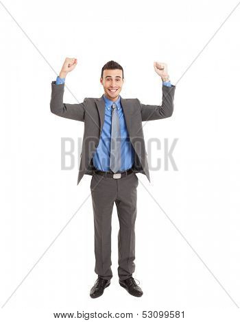Happy businessman with his arms raised