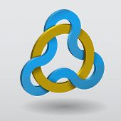 foto of triquetra  - Realistic vector illustration of a celtic knot triquetra with magic golden ring - JPG