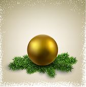 Golden ball on green christmas tree branches with snow. Vector illustration.