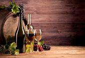 stock photo of keg  - Still life of wine with wooden keg - JPG