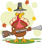 stock photo of musket  - Pilgrim Turkey Bird Cartoon Mascot Character With A Musket - JPG