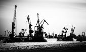 picture of shipbuilding  - Silhouettes of cargo port skyline with cranes ships and poles - JPG