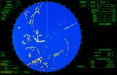 image of sonar  - Modern ship radar screen with blue round map and standard green text labels - JPG