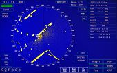 picture of sonar  - Blue modern ship radar screen with round map and standard text labels - JPG