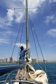 Sailboat Sailing Blue Sea On Sunny Summer Day poster