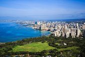 stock photo of waikiki  - View of downtown Honolulu and Waikiki from Diamond Head Crater Summit - JPG