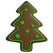 Gingerbread 3D Cartoon Christmas Pine Tree With Ornaments