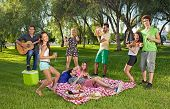 stock photo of jive  - Group of lively happy teenage young friends enjoying a picnic outdoors dancing and singing along to guitar music played by one of the boys - JPG
