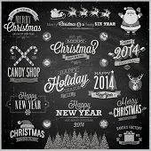 stock photo of chalkboard  - Christmas set  - JPG