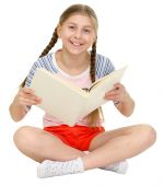 picture of blinders  - Small happy girl sits with the book in hands - JPG