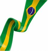 stock photo of brazil carnival  - brazil ribbon flag on white background  - JPG