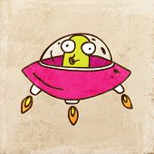 picture of flying saucer  - Alien in a Flying Saucer - JPG